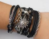 black CHLOE braided bracelet/anklet, braided bracelet, wrap around bracelet, friendship bracelet, charm bracelet