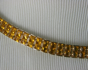 Vintage Weiss Brilliant Yellow Topaz Rhinestone Choker Necklace