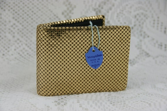 Unused Vintage WHITING AND DAVIS Gold Mesh Wallet In Box With Tag