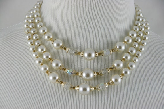 Japan Necklace Triple Strand Faux Pearl & Crystal Glass Choker with Earrings
