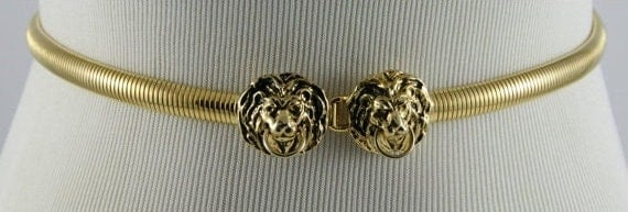 PRICE REDUCED Vintage ANNE Klein Double Lions Head Gold Tone Stretchy Belt