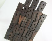 32 Piece JUMBO Vintage Wood Letterpress Type for Printing - 6.5 cm Geometric Gothic Letters Numbers Punctuation