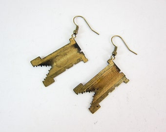 Vintage Linotype Matrix Earrings - Brass Letterpress Punctuation - Oxidized Brass