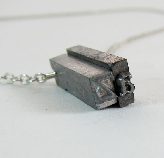 Vintage Letterpress Necklace - Downward Facing 2 Letter Initials - PICK 2 LETTERS
