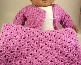 Purple Crochet Baby Blanket, Sweater & Hat Set