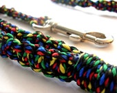 Colorful  Macrame Leash - Black, red, green, yellow, blue