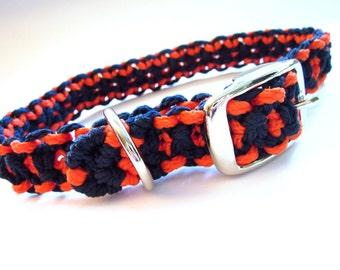 Navy and Orange Medium Dog Macramé Collar