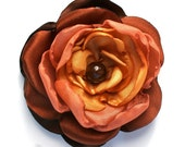 Fall Fabric Flower Brooch, Sash, Corsage, Hair Pin or Clip in Harvest Gold and Brown