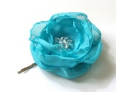 Turquoise Fabric Flower Bobby Pin