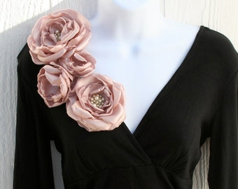 Pink Champagne Fabric Flower Brooch