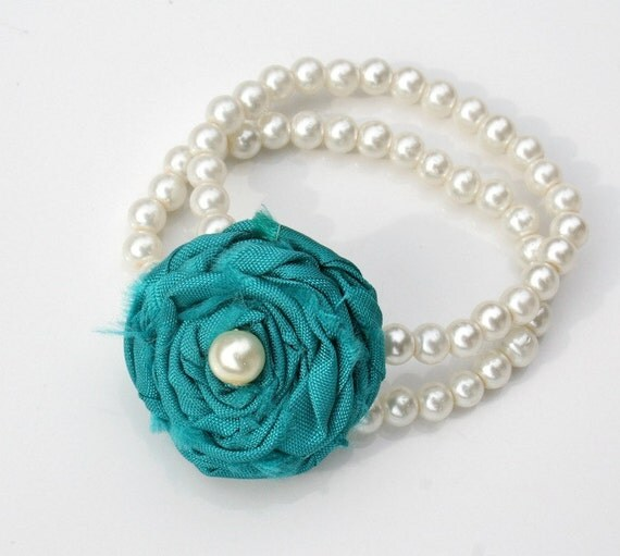 Pearl Bracelet with Teal Rosette: The Queen Anne