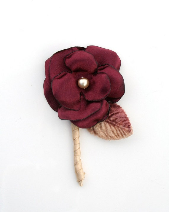Men's Boutonniere Wine Colored Fabric Flower