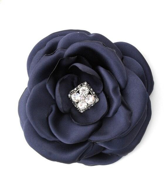 Navy Blue Fabric Hair Flower Clip or Brooch