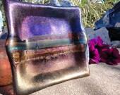 Golden Glass Fused Dichroic Sculptural Art Dish Iridescent Handmade Artesian Glassware One of a Kind ooak Home Decor Interior Design Unique Gift Idea Purple Blue Gold Silver Bronze Brass Copper Metallic Shimmer