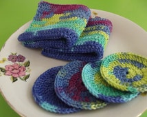 2 Pcs Cotton Crochet  Washcloths and 4 Pcs Facial Scrubbies Set,Crochet Pattern,Crochet Didhcloths
