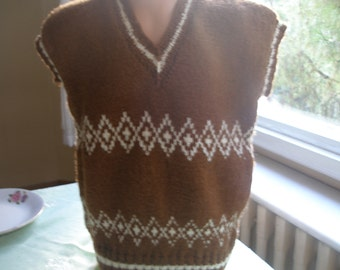 Knitting Pattern...Knitting Children Vest... Sweater...Brown and white
