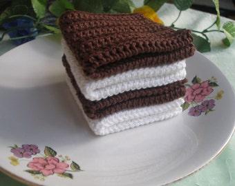 4  Cotton Crochet  Dishcloths...Crochet Wash cloth..Crochet Pattern ...Crochet bath and beauty...Crochet Kitchen Cleaning