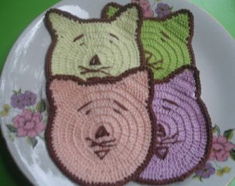 4 COTTON  CROCHET  Coaster...