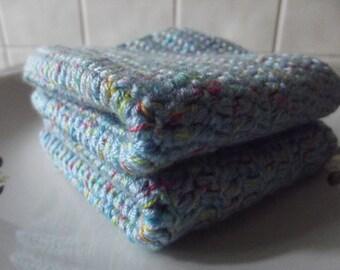 2 Pcs Blue, Cotton Crochet Wash Cloth,Dishcloths ...Crochet Washcloth ...Crochet Bath and Beauty...Crochet Kitchen Cleaning