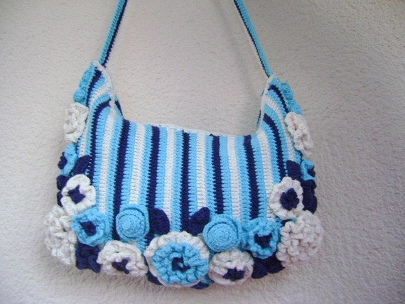 Handmade Crochet Handbags : Cotton Crochet tote bag made with handmade by Vestberet on Etsy