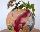 Asian fish fabric vase