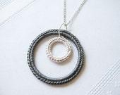 Crochet Double Circle Necklace in Dark Gray & Cream
