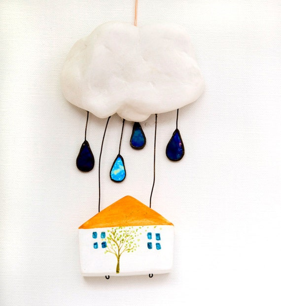 SALE -25% House In The Clouds  - original clay sculpture