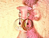 RESERVED FOR SEAN - Gorgeous Brass Lotus Hoops - Faceted Garnet Teardrops - 1920's Antique Crystal & French Steel Beads OoAK