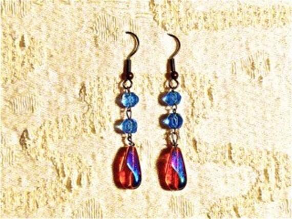 Fragments Chapelet - Divine Relics - Antique European Handcut Blue Glass and Iridescent Gold Czech Glass Teardrop Earrings