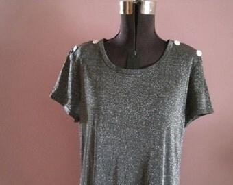 SALE      Vintage Metallic Go Go Glam  Disco Mod Dress