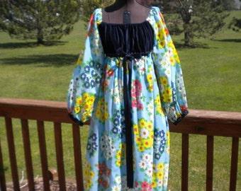 SALE 60's 70's AUTHENTIC Hippie Mod Flower Power  Peasant Woodstock   Maxi Dress