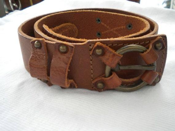 Diesel Brown Leather Ring Pull Italian Hippie Belt
