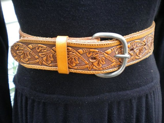 Vintage Brown Leather  Tooled  And Cut Out Brazos Joe Hippie Belt