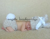 Baby Bunny Hat and Diaper Cover Set, Soft, Fuzzy Mohair, Tan and White, You Choose Size- Preemie, Newborn, Infant