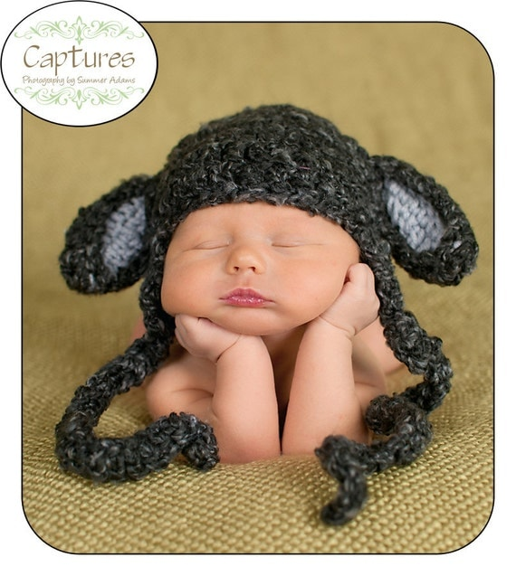 Baby Black Sheep Little Lamb Baby Hat with Earflaps and Braided ties, Girls or Boys. You Pick Size,Preemie, Newborn, Infant
