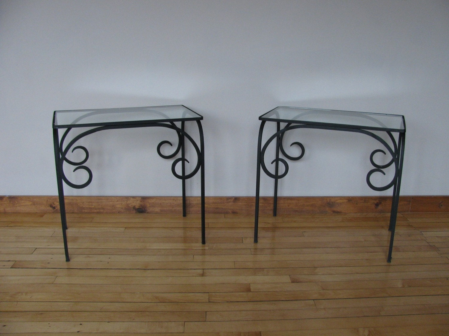 Wrought iron end table by theanvilkubala on etsy for Wrought iron and glass side tables