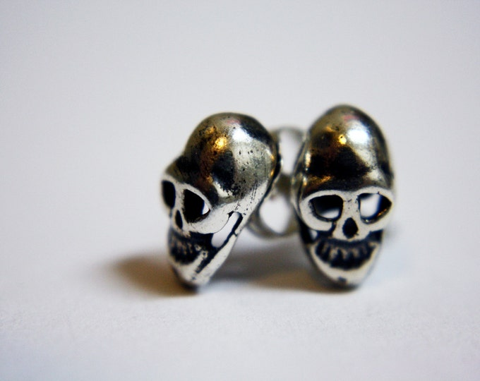 "Petite Mort ""Little Death"" Skull Stud Earrings - sterling silver skull earrings - tiny skull earrings - skull jewelry - silver skull studs"