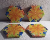 Yellow Flower Ceramic Tile Coasters - Set of 4