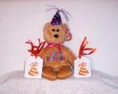Orange  Birthday Hat Gift Tags