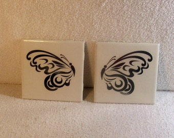 Butterfly Ceramic Coasters - Silver on white