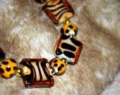 Animal Print Glass Bead Bracelet