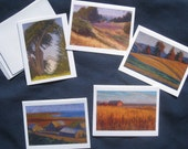 Set of 5 Art Notecards: Farms and Fields