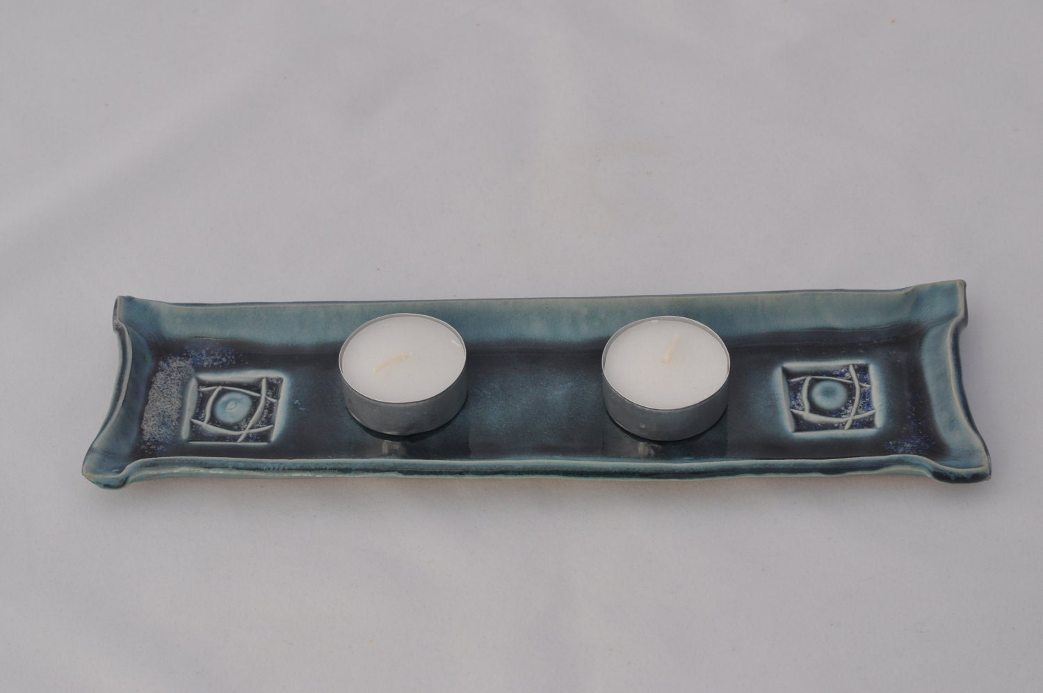 Rectangular turquoise candle tray for Long rectangular candle tray