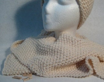 Fisherman Hand Knit Wool Blend Scarf, FREE Standard Shipping in Continental United States