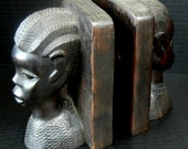 VINTAGE and Exotic African American hand carved Female and Male BOOKENDS