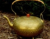 Antique Brass Etched TEA POT from INDIA