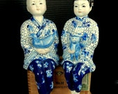 """Precious Porcelain CHINESE Boy and Girl SHELF STATUES  / 13"""""""