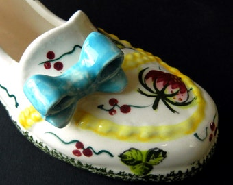 WALL POCKET VASE  //  Little Loafer Shoe Slipper wth Blue Bow  //  7 inches //  Baby Shower gift //