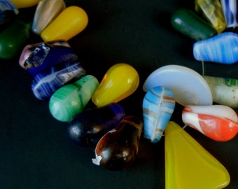 Big Globular Glass AFRICAN TRADE BEADS in a Rainbow of Colors, Shapes, and Sizes