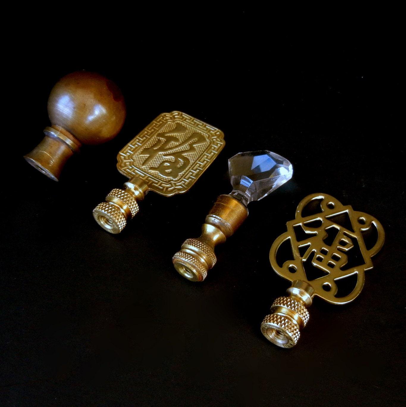 Assorted Brass Lamp Finials With An Asian Influence